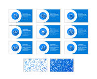 Set of business cards for doctors of different specialties and two different back side patterns on white Stock Photos