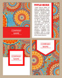 Set of business cards. Elegant ornate background with mandala ornament for invitations, greeting card, menu.Vintage pattern in ret Stock Image