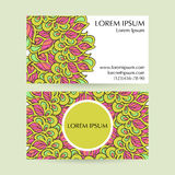 Set of business cards with ethnic circle ornament. Royalty Free Stock Image