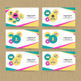 Set of business cards in flat style. Royalty Free Stock Photography