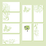 Set of business cards, floral ornament Stock Photo