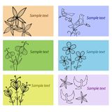 Set of business cards with floral ornament Stock Images