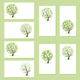 Set of business cards, floral trees Royalty Free Stock Image