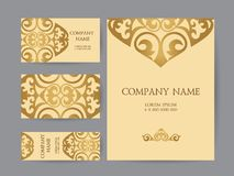 A set of business cards and flyers, brand book in oriental style. Abstract Asian, elements of the national pattern of the ancient nomads of the Kyrgyz, Mongols vector illustration
