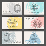 Set of business cards with geometric crystals and. Minerals vector illustration