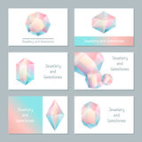 Set of business cards with geometric crystals and minerals.  royalty free illustration