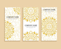 Set of business cards with golden pattern. Set of business cards for design. Vintage template gold circular pattern. Vector illustration for corporate identity Stock Image