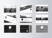 Set of business cards, gray background. Template information card Stock Images
