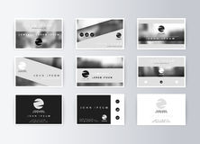Set of business cards, gray background. Template information card Stock Photos