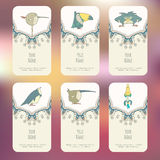Set of Business cards with hand drawn birds Royalty Free Stock Photography