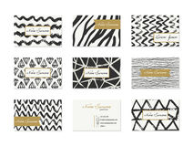 Set of Business Cards with hand drawn elements Stock Photos