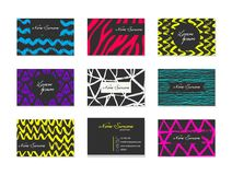 Set of Business Cards with hand drawn elements Royalty Free Stock Photo