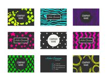 Set of Business Cards with hand drawn elements Stock Image