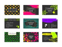 Set of Business Cards with hand drawn elements Stock Photo