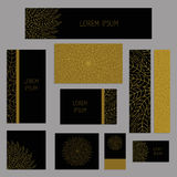 Set of business cards or invitation templates. On abstract background. Decorative ornamental style. Business cards with gold elements on the dark background Stock Images