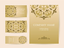 Set of business cards, invitations, and cards templates with lac Stock Photos