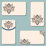 Set of business cards with lotuses. Beauty designs. Vector vinta Stock Photography