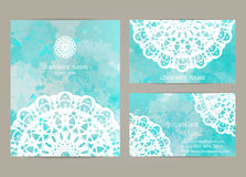 Set business cards  with mandala Royalty Free Stock Photography