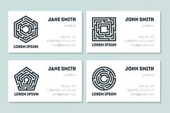 Set of business cards with maze. Collection of labyrinths in shapes of circle, square, pentahedron and hexahedron. Modern design of mystery patterns. Vector Royalty Free Stock Photo