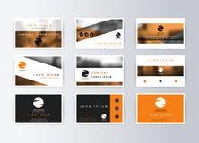 Set of business cards, orange background. Template information card Stock Images