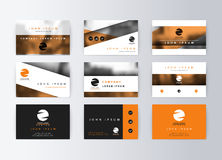 Set of business cards, orange background. Template information card Royalty Free Stock Photos