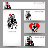 Set of business cards. People in love. Stock Image