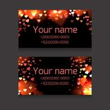 Set of business cards with sparks and hearts on a dark background. Festive business cards. With space for text  for your business Royalty Free Stock Images