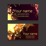 Set of business cards with sparks and stars  on a dark background. Festive business cards with space for text  for your business Stock Photos