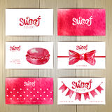Set of business cards with sweets. Or desserts Royalty Free Stock Photos