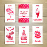 Set of business cards with sweets Stock Image