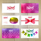 Set of business cards with sweets or desserts. Set of art business cards with sweets or desserts vector illustration