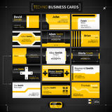 Set of 15 business cards in techno style. Stock Image