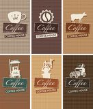 Set of business cards on the theme of coffee house Stock Photography