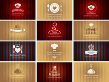Set of business cards on theme of food and drink Stock Photos