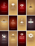 Set of business cards on theme of food and drink Royalty Free Stock Photography
