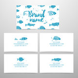 Set of business cards to corporate identity. Business cards with the decor of fish. Design template with sea pattern. Personal cards with different fish. Cards Stock Photos