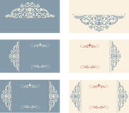 Set of business cards with victorian pattern Royalty Free Stock Images