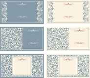 Set of business cards with victorian pattern Stock Image