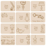 Set of Business Cards - Vintage Elements Stock Images