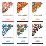 Set of business cards. Vintage pattern in retro style with mandala. Hand drawn Islam, Arabic, Indian, lace pattern Stock Image