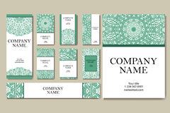 Set of  business cards. Vintage pattern in retro style with mandala. Hand drawn Islam, Arabic, Indian, lace pattern Stock Photography