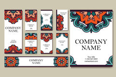 Set of  business cards. Vintage pattern in retro style with mandala. Hand drawn Islam, Arabic, Indian, lace pattern Stock Images