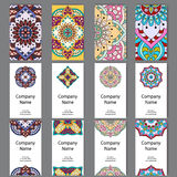 Set of business cards. Vintage pattern in retro style with mandala. Hand drawn Islam, Arabic, Indian, lace pattern.  stock illustration