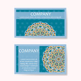 Set of business cards. Vintage pattern in retro style with mandala. Hand drawn Islam, Arabic, Indian, lace pattern Royalty Free Stock Photos