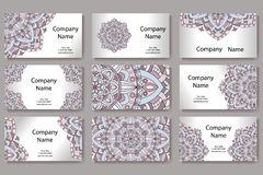 Set of business cards. Vintage pattern in retro style with mandala. Hand drawn Islam, Arabic, Indian, lace pattern Royalty Free Stock Photography
