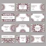 Set of business cards. Vintage pattern in retro style with mandala. Hand drawn Islam, Arabic, Indian, lace pattern. Royalty Free Stock Photography