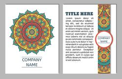 Set of business cards. Vintage pattern in retro style with mandala. Hand drawn Islam, Arabic, Indian, ottoman pattern royalty free illustration