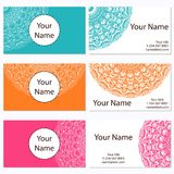 Set of business cards. Vintage pattern in retro style Stock Images
