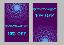 Set of business cards with violet background. Arabic mandala, vector illustration. Set of business cards with violet background for your design. Arabic mandala royalty free illustration