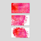 Set of business cards with watercolor background. Stock Photos
